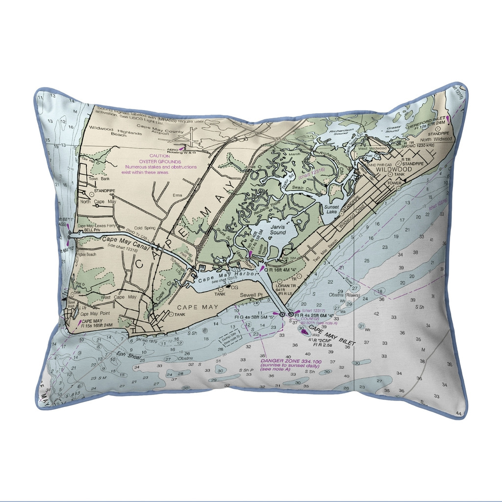 Cape May, New Jersey Nautical Map 20 x 24 Pillow