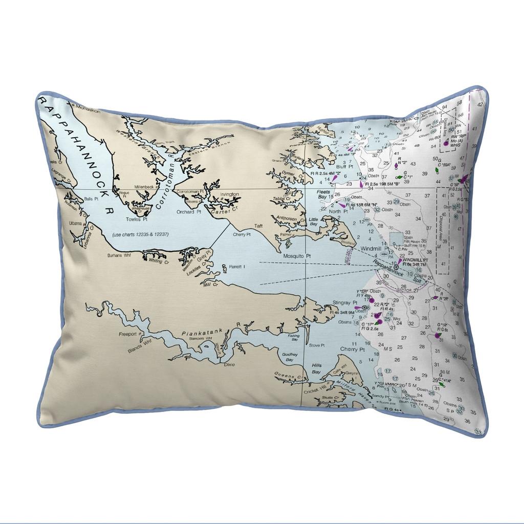 Chesapeake Bay, VA Nautical Map 20 x 24 Pillow