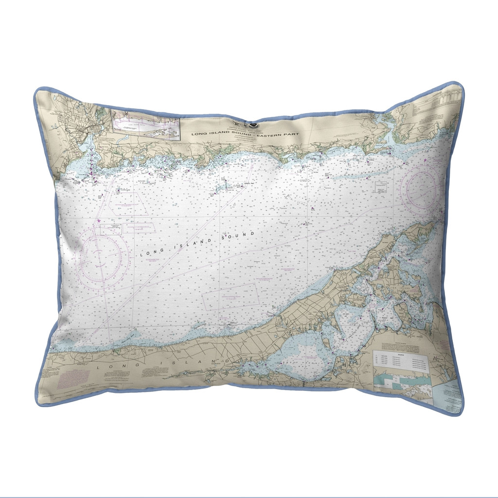Long Island Sound - Eastern Part, New York  Nautical Chart 20 x 24 Pillow