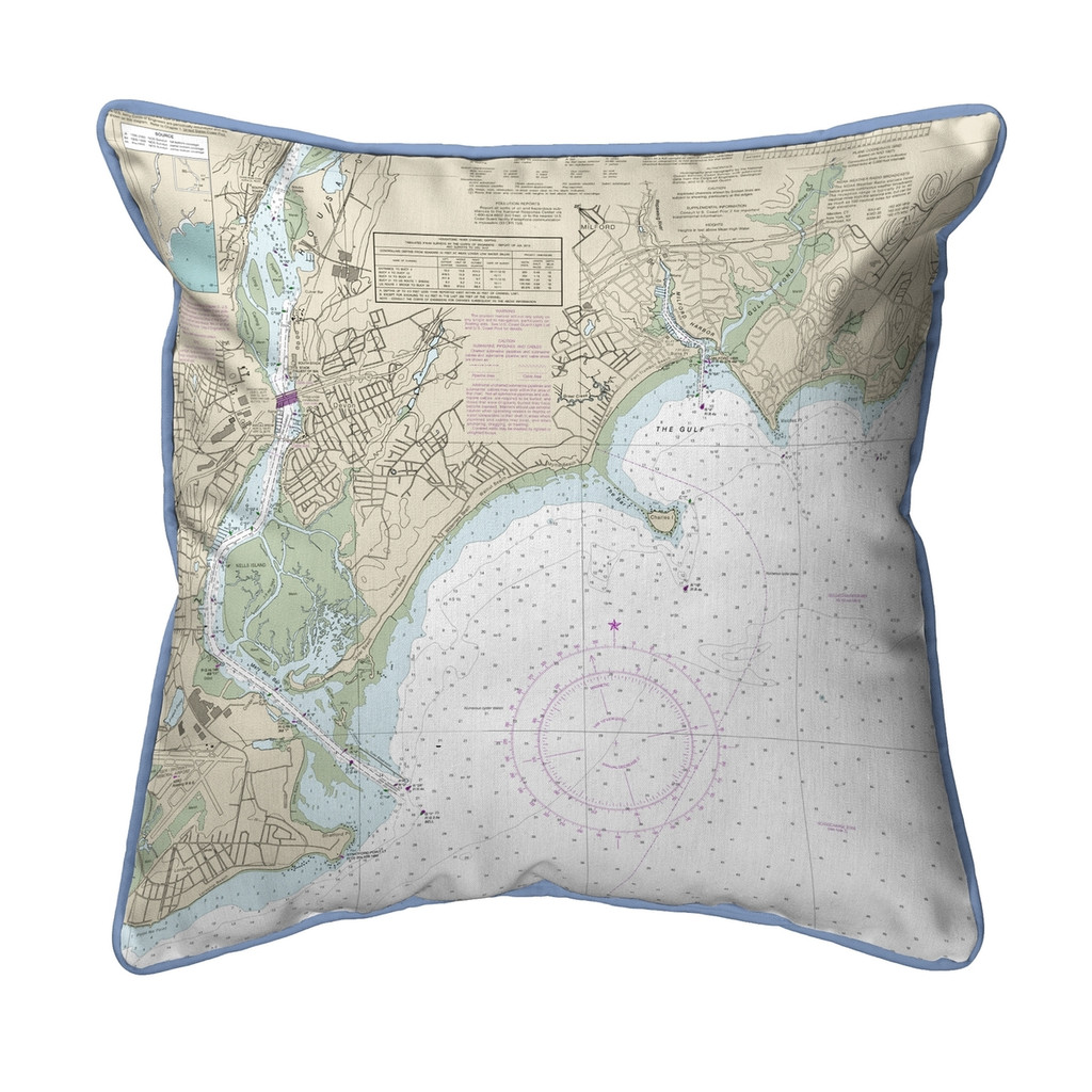 North Long Island Sound, New York  Nautical Chart 22 x 22 Pillow
