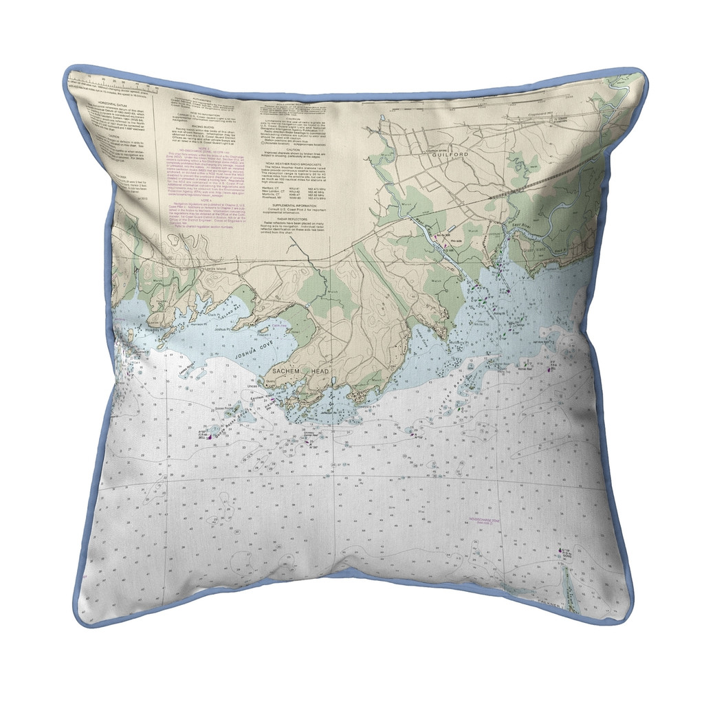 Guilford Point Connecticut  Nautical Chart 22 x 22 Pillow