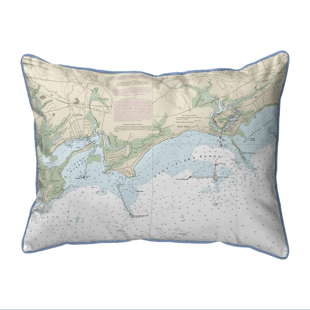 Clinton Harbor to Westbrook Harbor, Connecticut  Nautical Chart 20 x 24 Pillow
