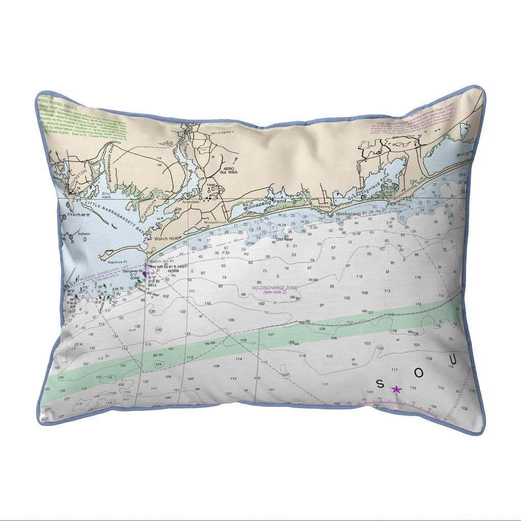 Block Island Sound, Rhode Island  Nautical Chart 20 x 24 Pillow
