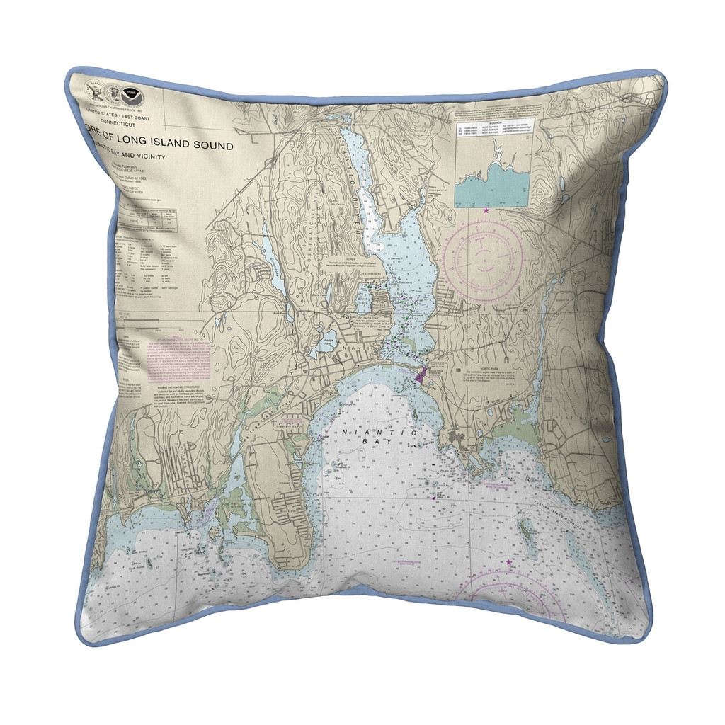 North Shore Long Island to Niantic Bay, Connecticut  Nautical Chart 22 x 22 Pillow - Tan