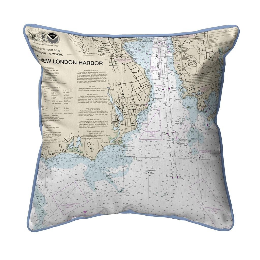 New London Harbor, Connecticut  Nautical Chart 22 x 22 Pillow