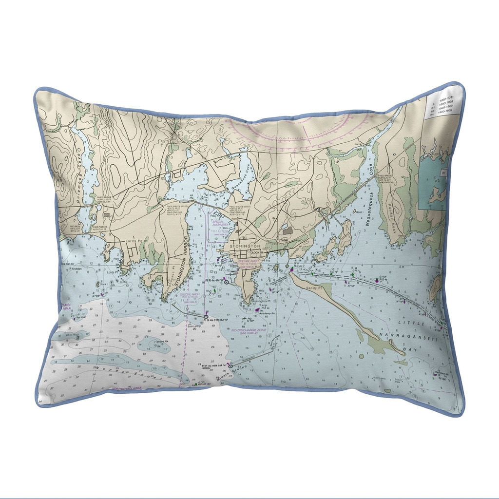 Stonington Harbor Connecticut Nautical Chart 20 x 24 Pillow