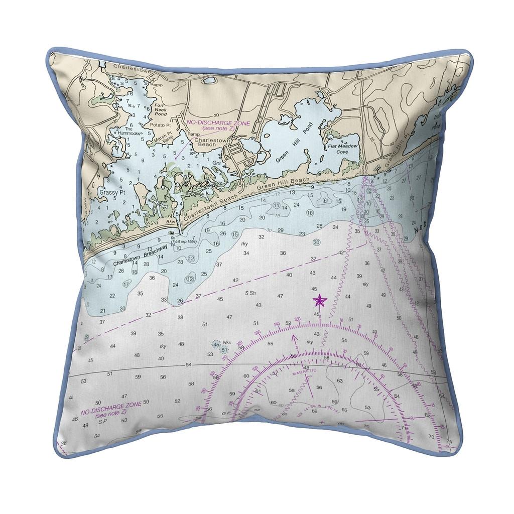 Block Island Sound - Charleston, Rhode Island Nautical Chart 22 x 22 Pillow