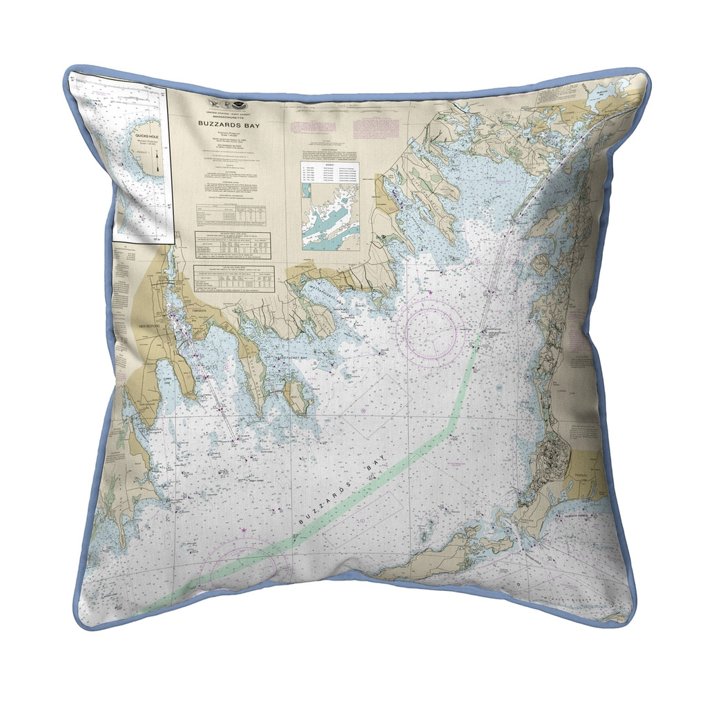 Buzzards Bay, MA Nautical Chart 22 x 22 Pillow