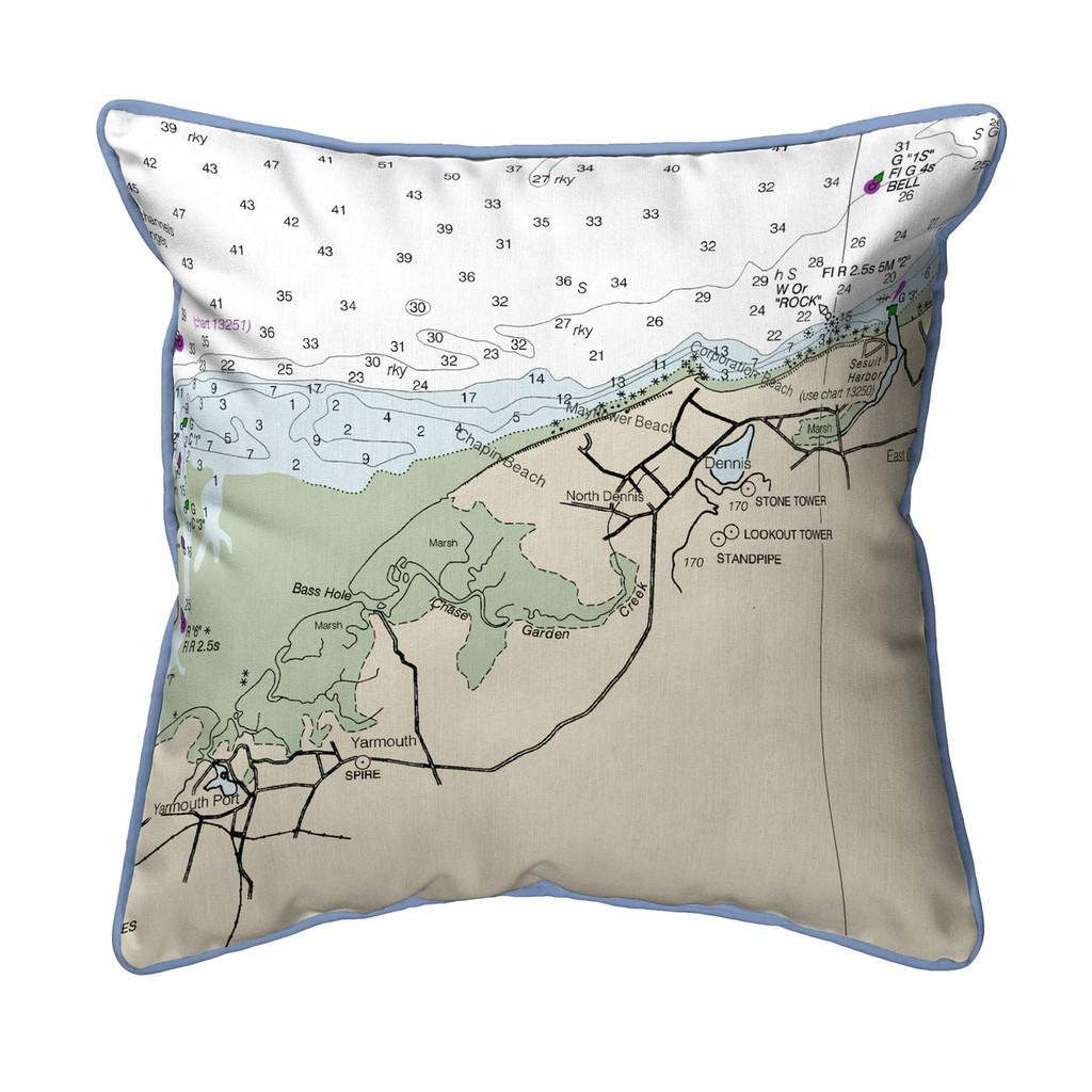 Cape Cod - Dennis, MA Nautical Chart 22 x 22 Pillow