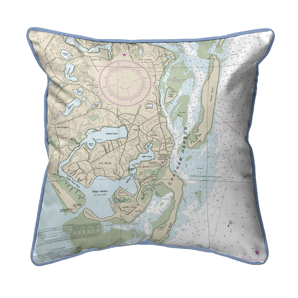 Chatham Harbor, Massachusetts Nautical Chart 22 x 22 Pillow