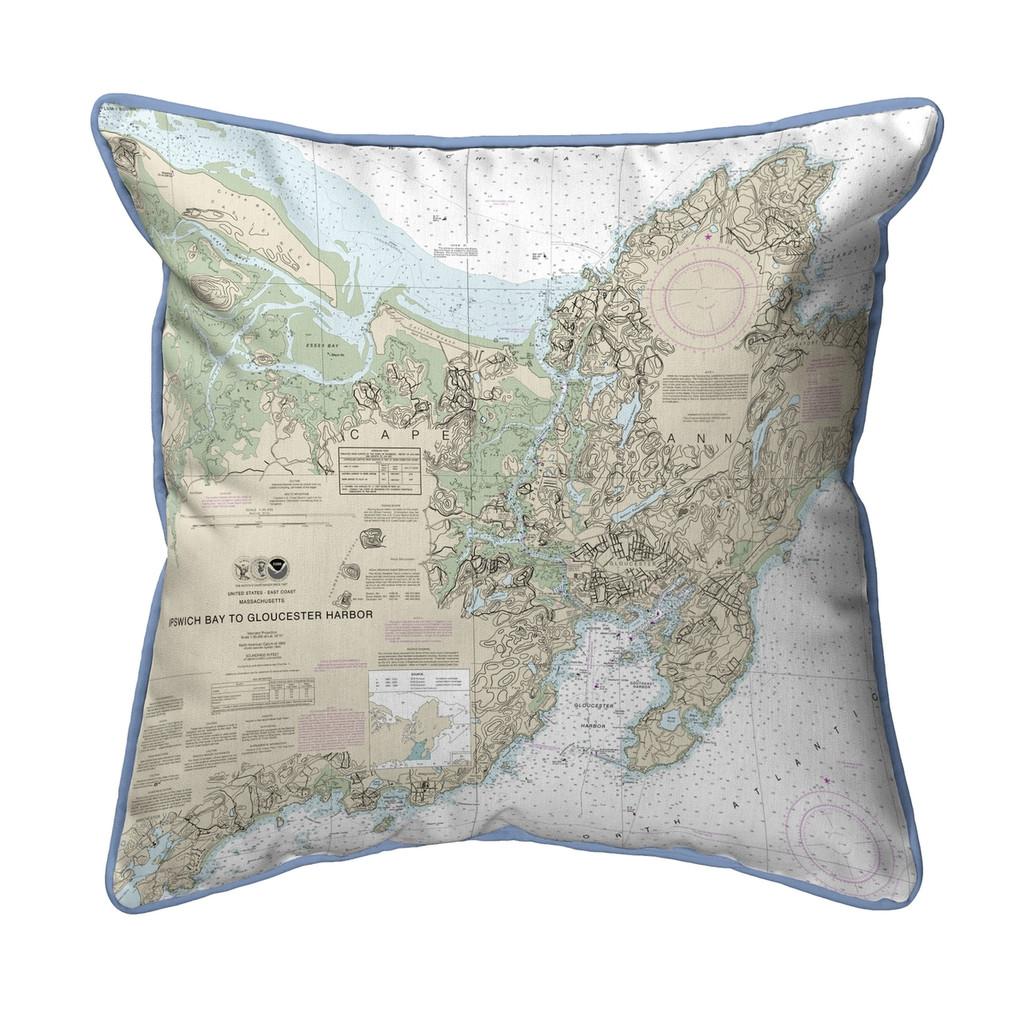 Ipswich Bay to Gloucester Harbor, MA Nautical Chart 22 x 22 Pillow