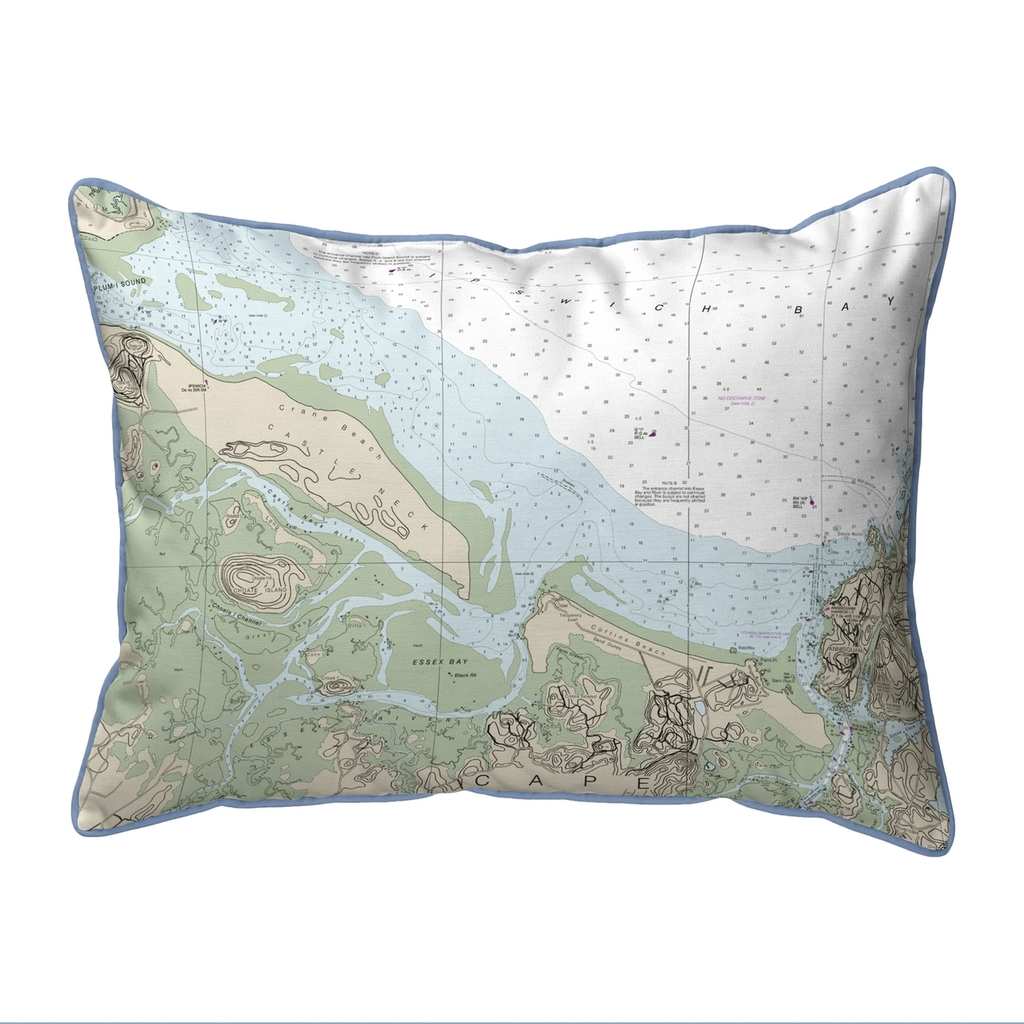 Essex Bay and Essex River, MA Nautical Chart 20 x 24 Pillow