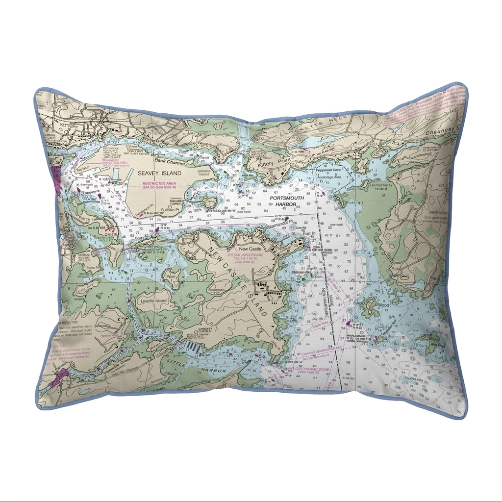 Portsmouth Harbor, New Hampshire Nautical Chart 20 x 24 Pillow
