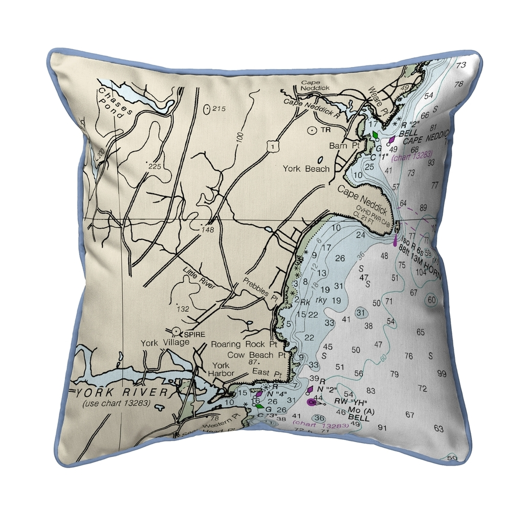Cape Neddick, Maine Nautical Chart 22 x 22 Pillow