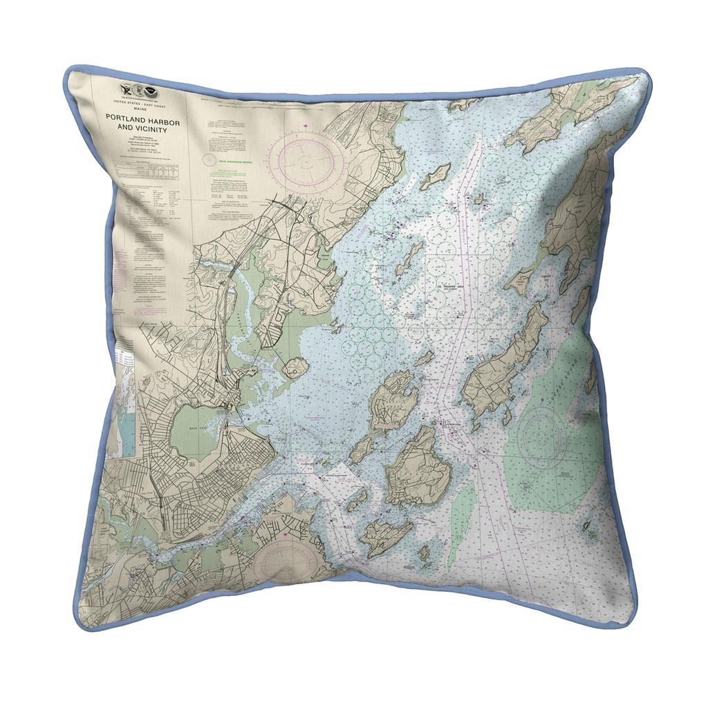 Portland Harbor and Vicinity, Maine 22 x 22 Nautical Chart Pillow light blue