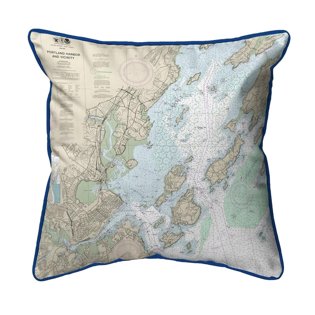 Portland Harbor and Vicinity, Maine 22 x 22 Nautical Chart Pillow dark blue