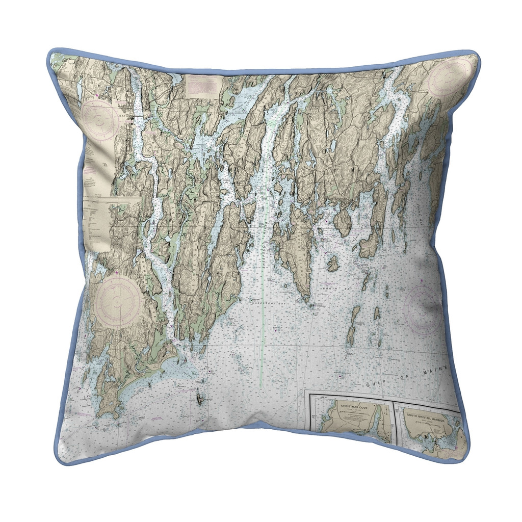 Booth Bay, Maine Nautical Chart 22 x 22 Pillow