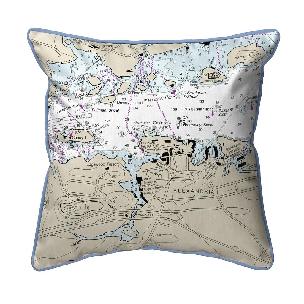 Alexandria Bay, New York Nautical Chart 22 x 22 Pillow
