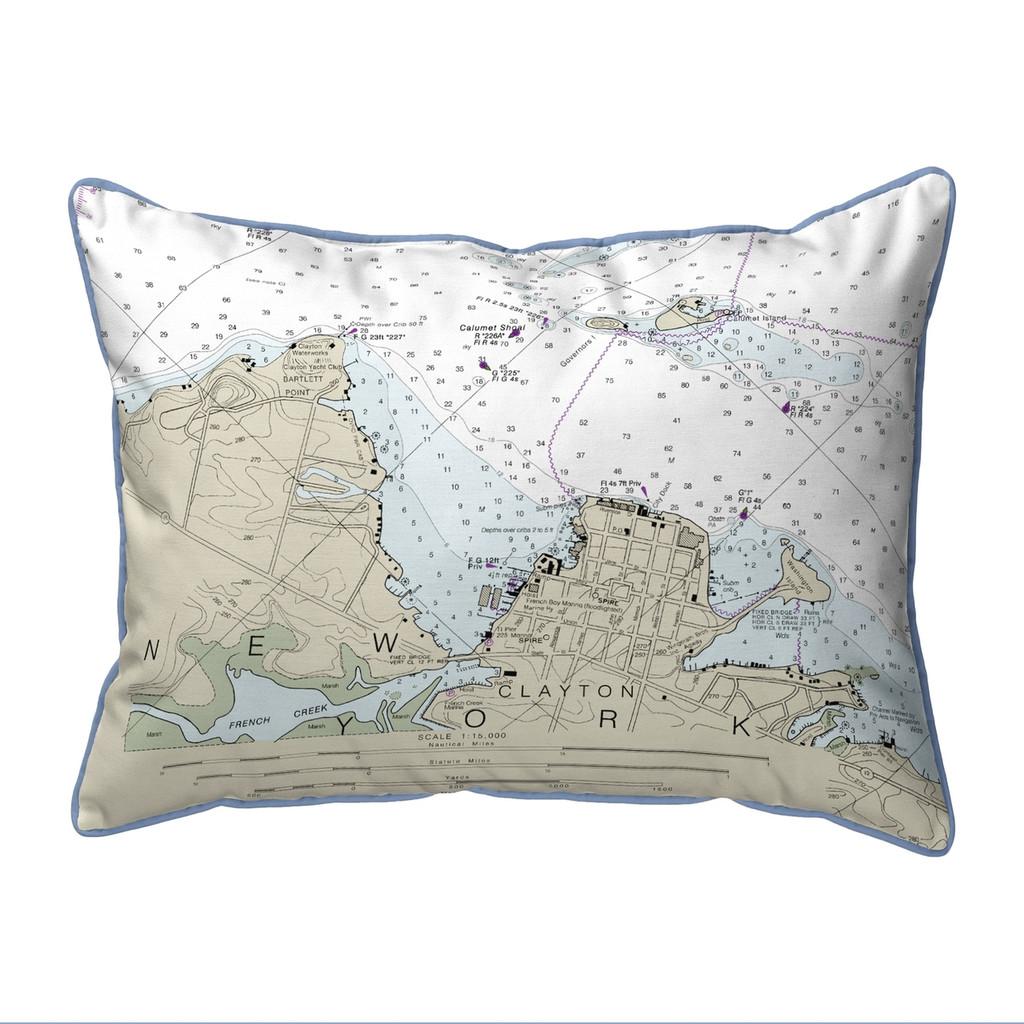 Clayton, New York Nautical Chart 20 x 24 Pillow