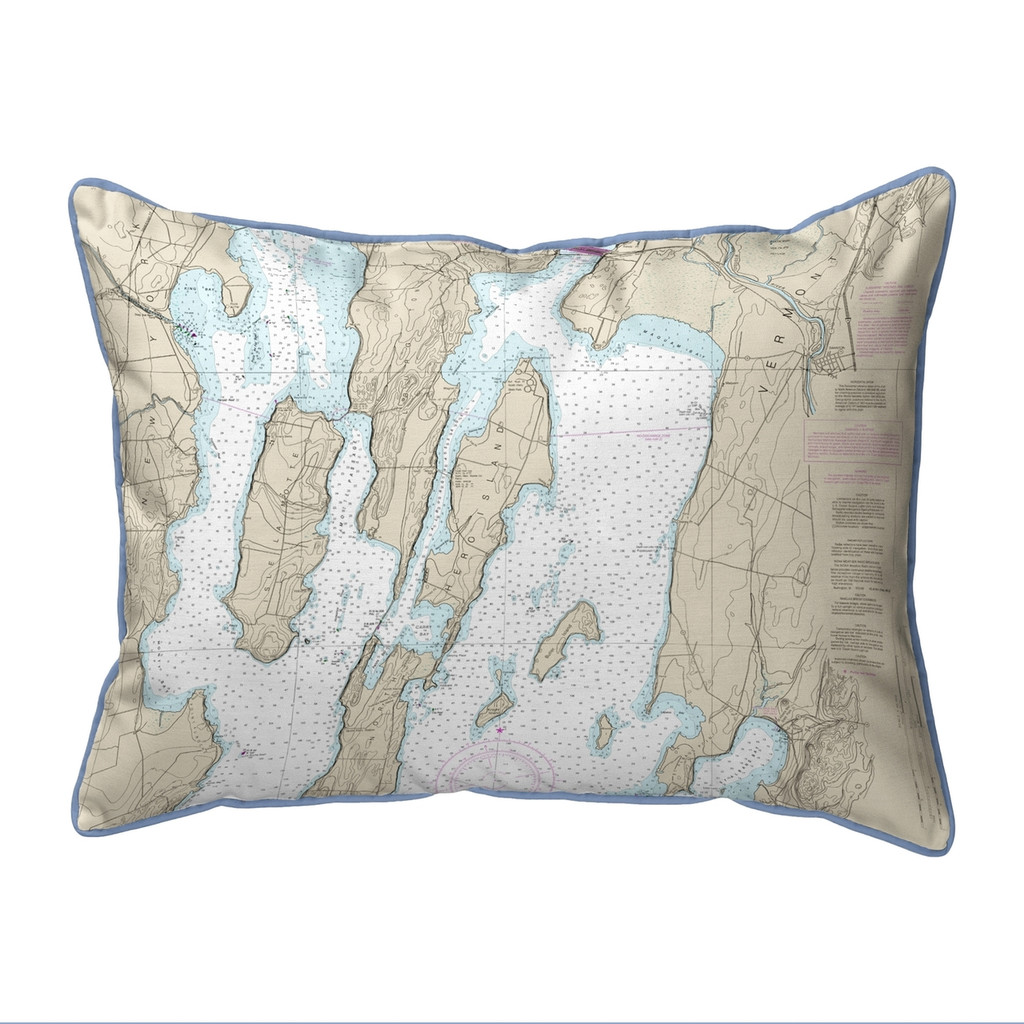 North Hero Island #2, Vermont Nautical Chart 20 x 24 Pillow