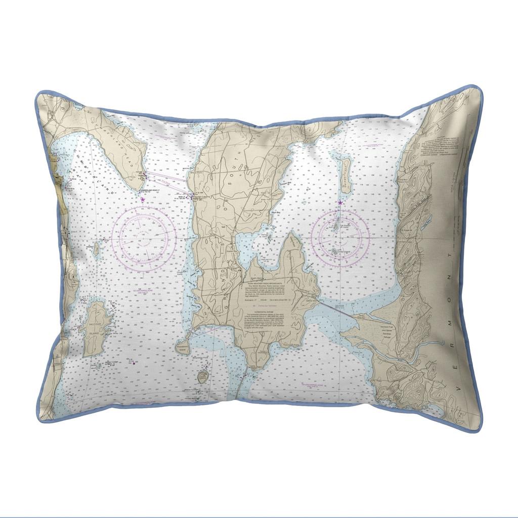 South Hero Island, Vermont Nautical Chart 20 x 24 Pillow