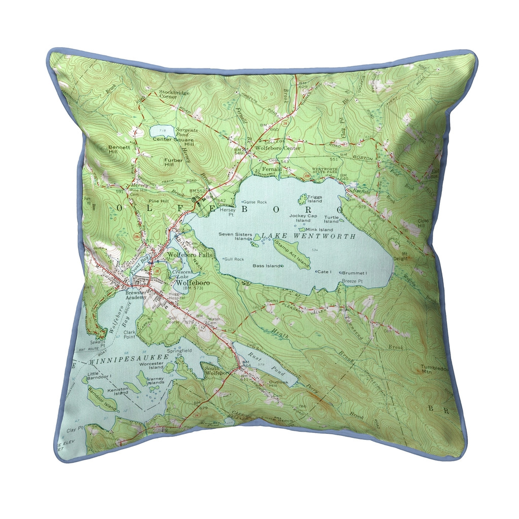 Lake Wentworth, New Hampshire Nautical Map 22 x 22 Pillow