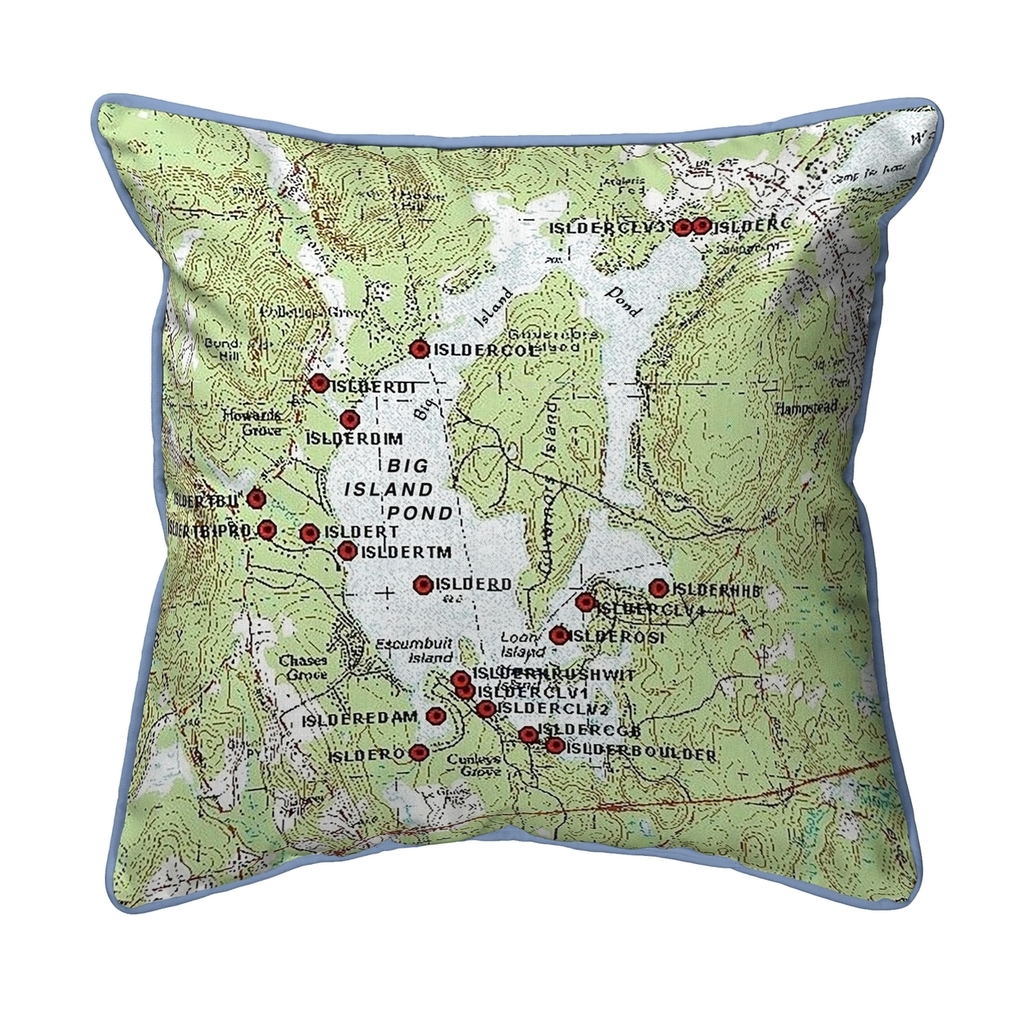 Big Island Pond, New Hampshire 22 x 22 Nautical Map Pillow