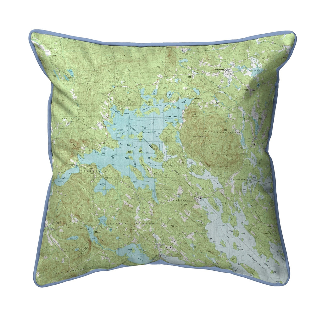 Squam Lake, New Hampshire Nautical Map 22 x 22 Pillow