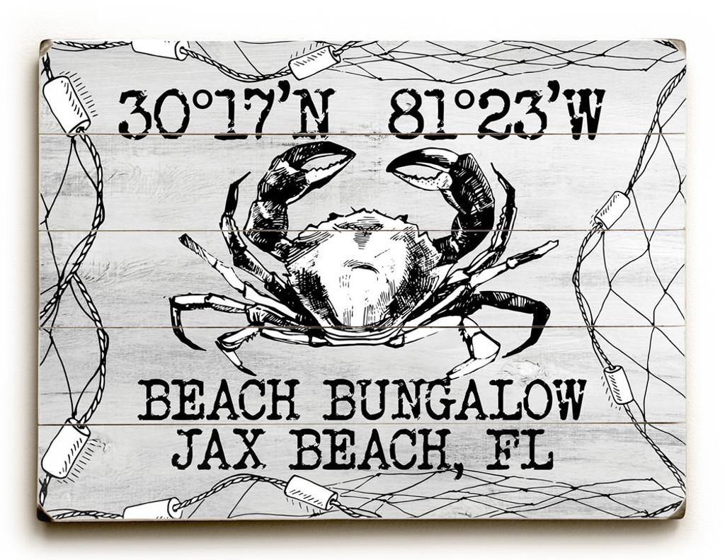 Custom Coordinates Crab in Net Sign - White