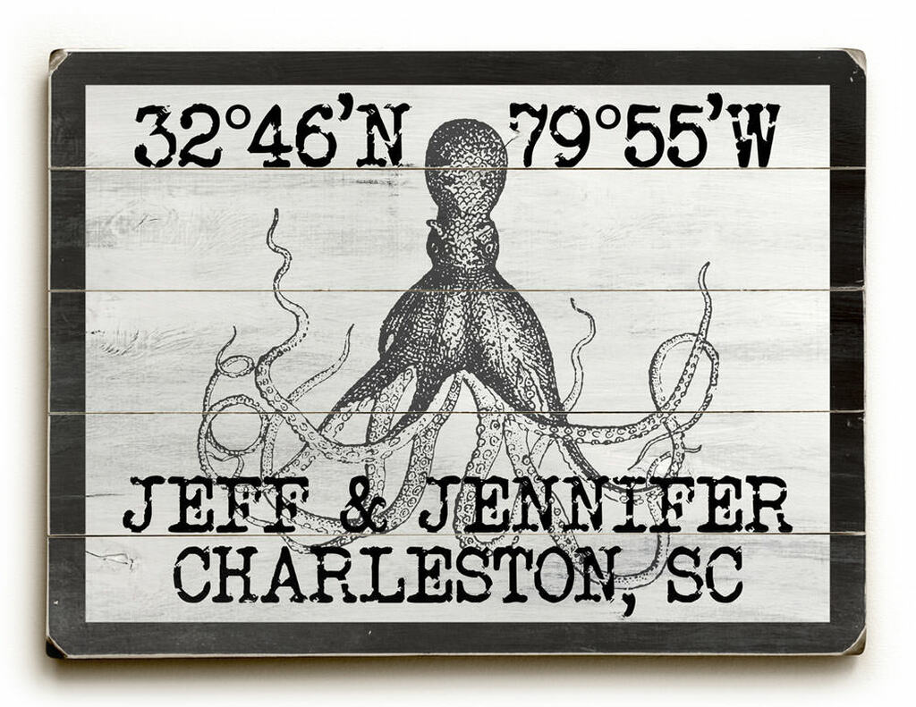 Custom Coordinates Vintage Black and White Octopus Sign