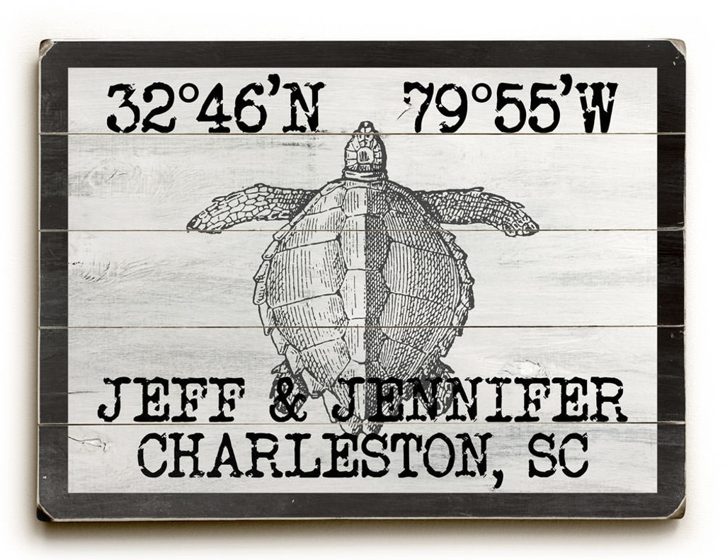 Custom Coordinates Vintage Black and White Sea Turtle Sign