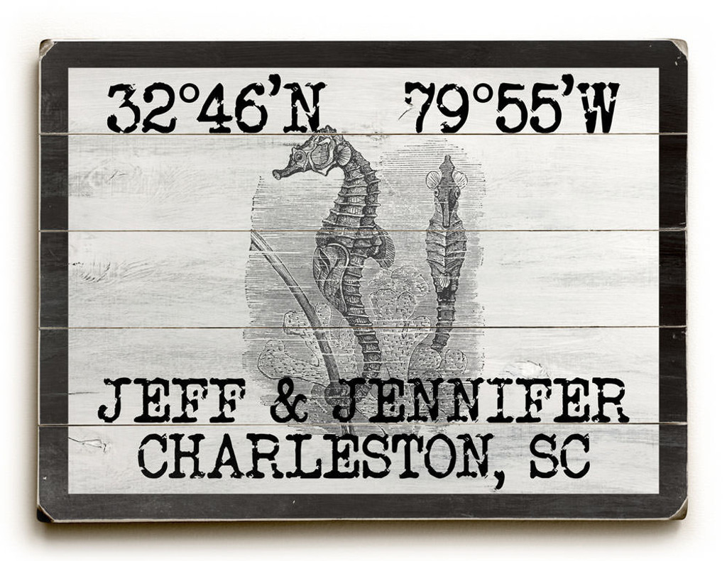 Custom Coordinates Vintage Black and White Seahorse Sign