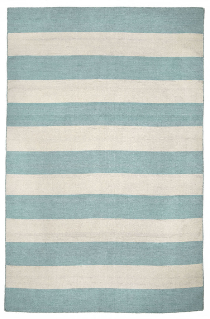 Water Blue Woven Wide Striped Rug main image