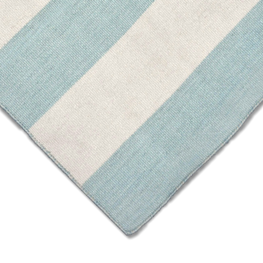 Water Blue Woven Wide Striped Rug  corner and pile image