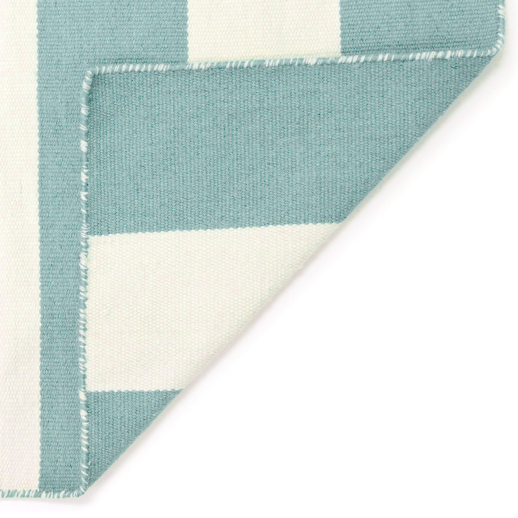 Water Blue Woven Wide Striped Rug back