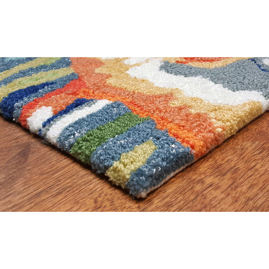 Bright Tropical Fish View Area Rug corner image