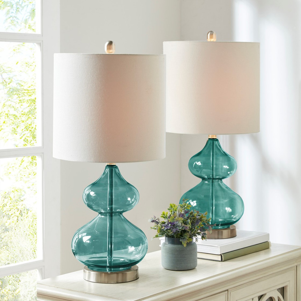 Waterfront Teal Glass Table Lamps - Set of 2