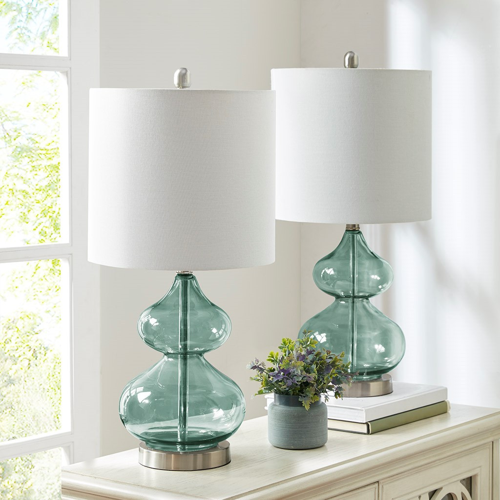 Waterfront Teal Glass Table Lamps - Set of 2 non-lit