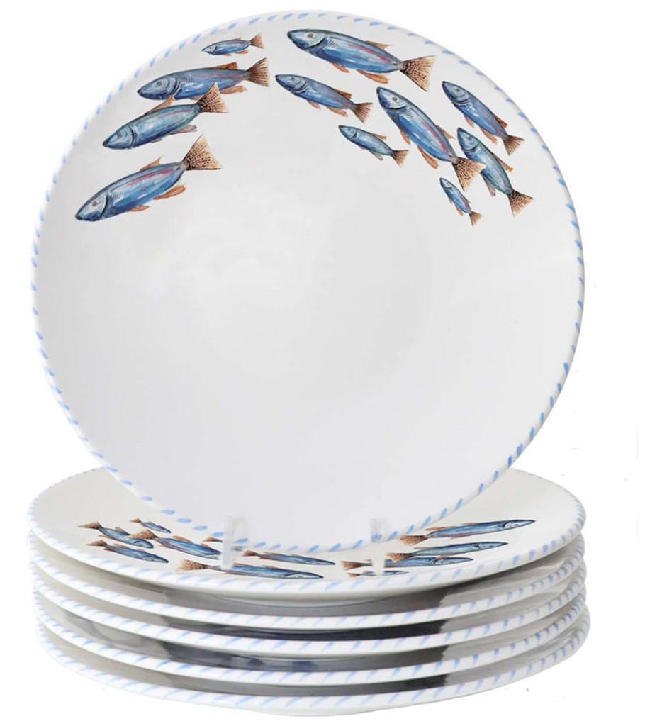 Blue School of Fish Salad or Dessert Plates - Set of 6