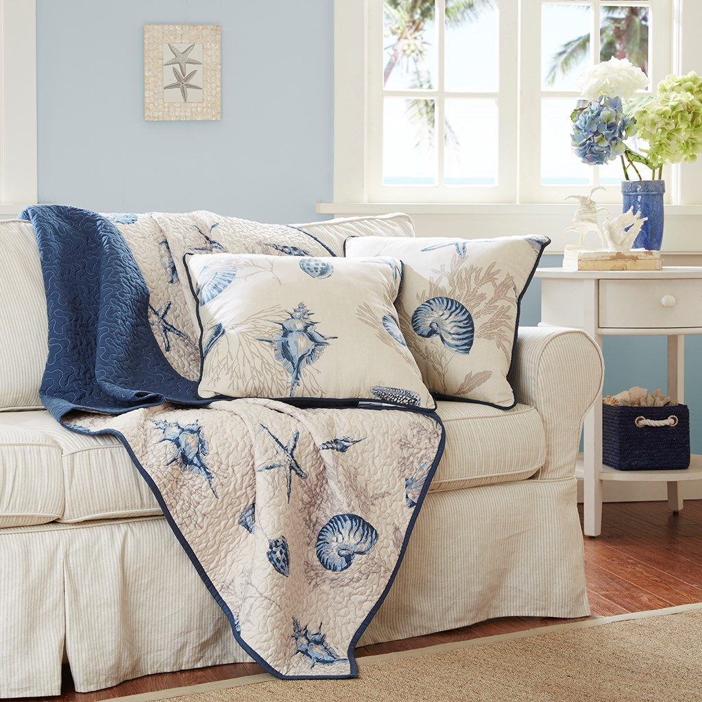 Bayside Blue Shells Oversized Quilted Throw