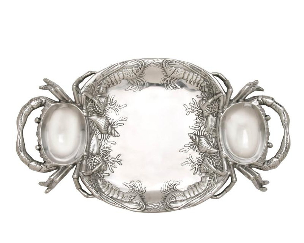 Polished Crab Platter with Handles