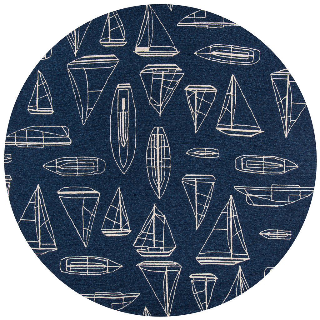 Navy and White Sailboat Sketch Rug round rug image