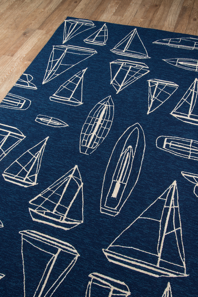 Navy and White Sailboat Sketch Rug floor image