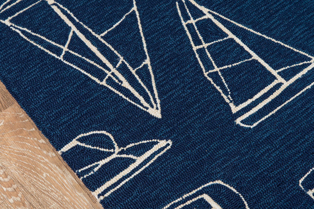 Navy and White Sailboat Sketch Rug edging