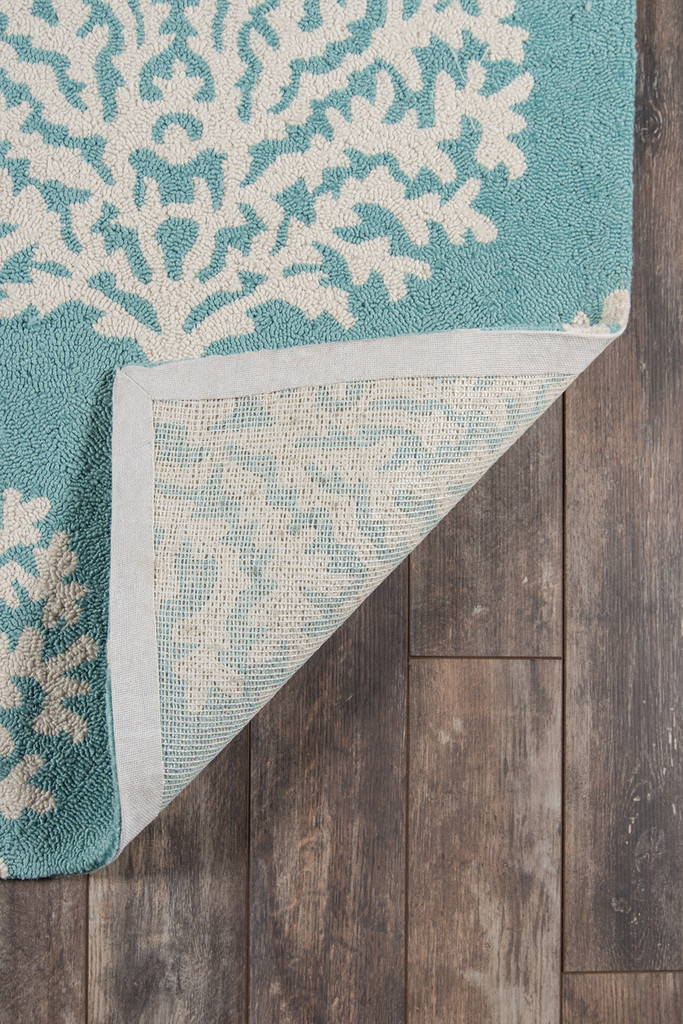 Aqua Coral Garden Area Rug backing