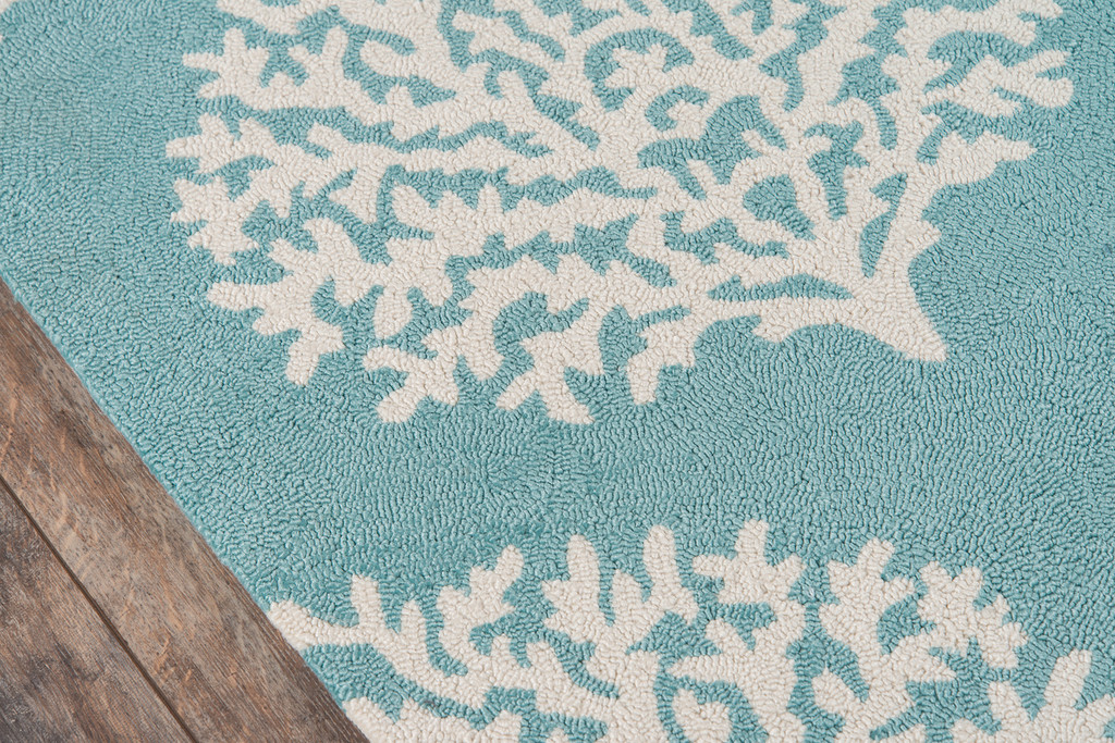 Aqua Coral Garden Area Rug close up edge