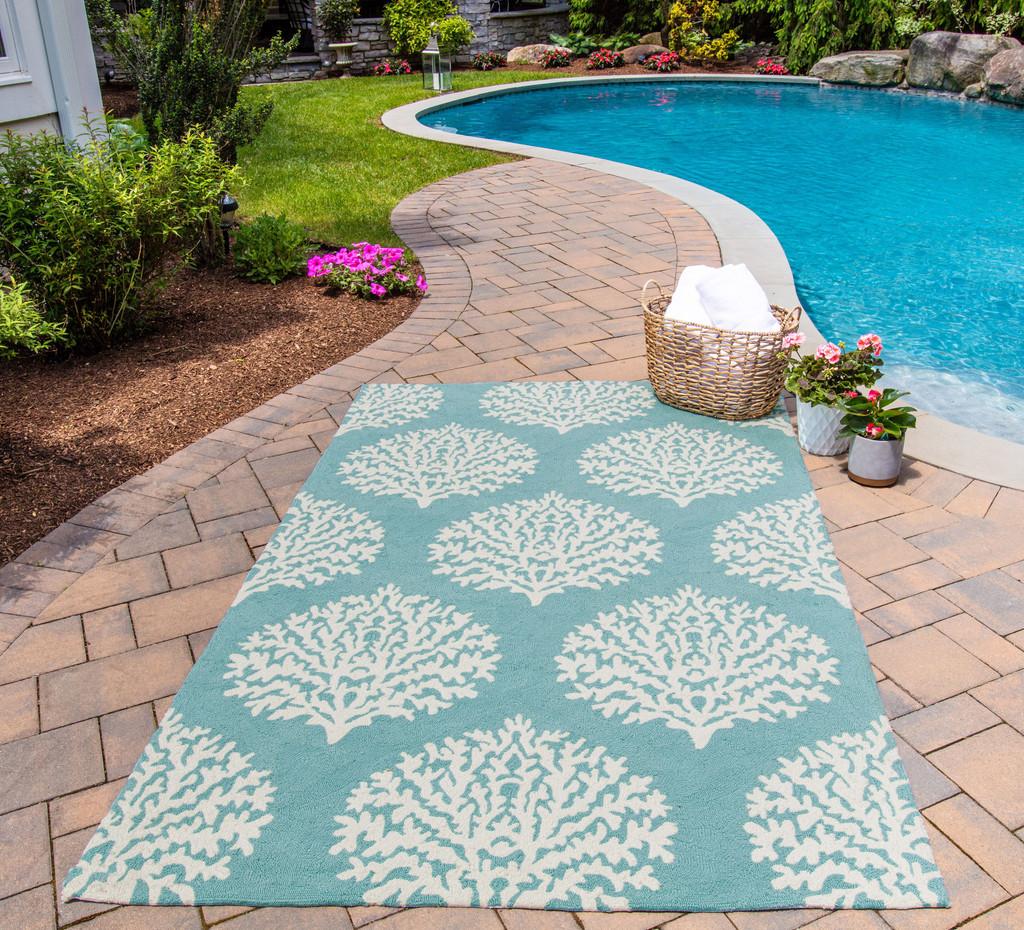 Aqua Coral Garden Area Rug patio view