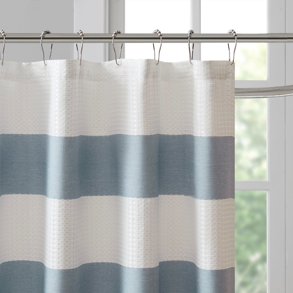 Spa Blue Striped Shower Curtain
