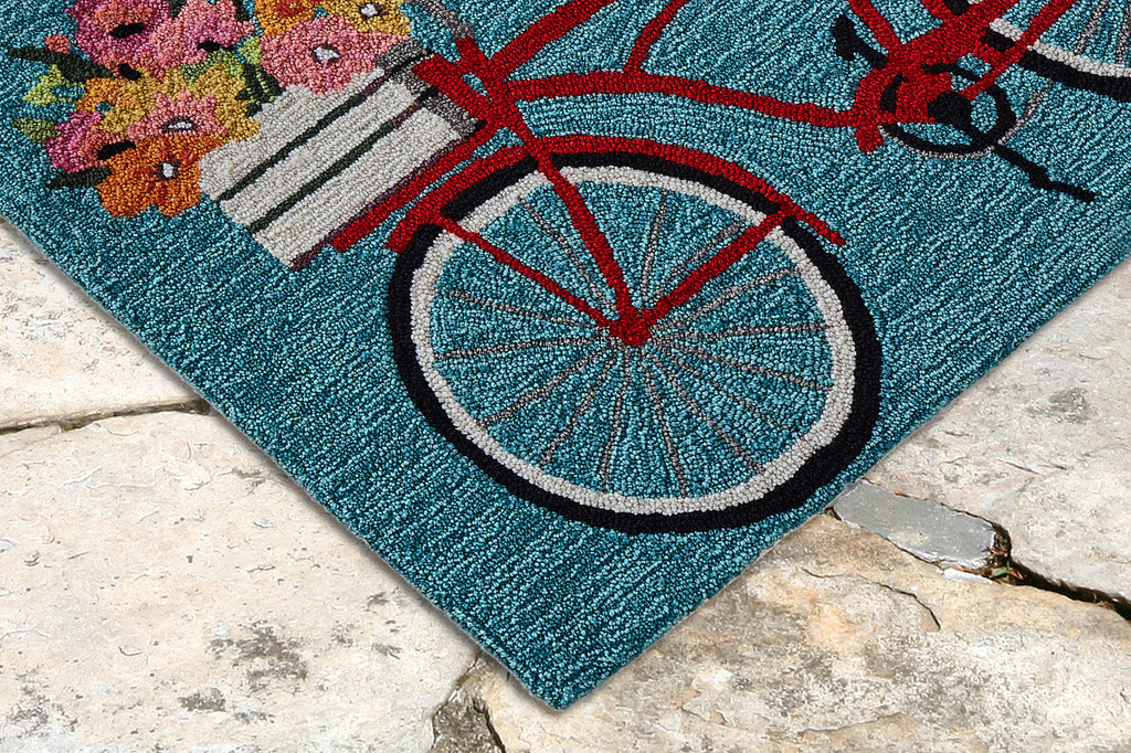 Go for a Bike Ride Blue Rug corner image