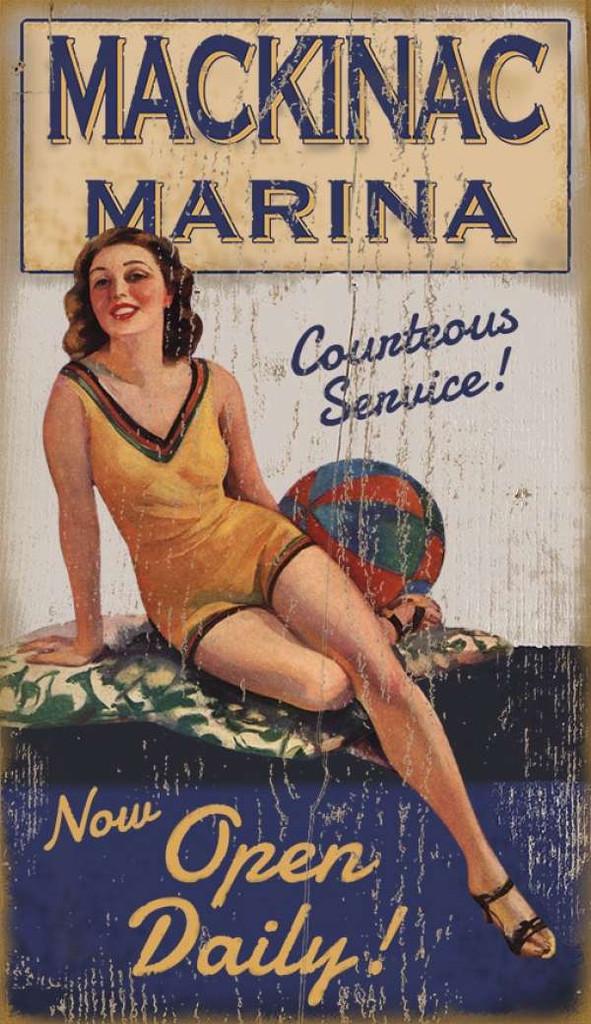 Vintage Marina Girl Custom Art Sign